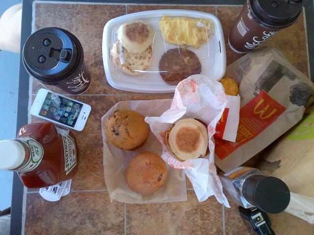 McDonalds breakfast on the balcony
